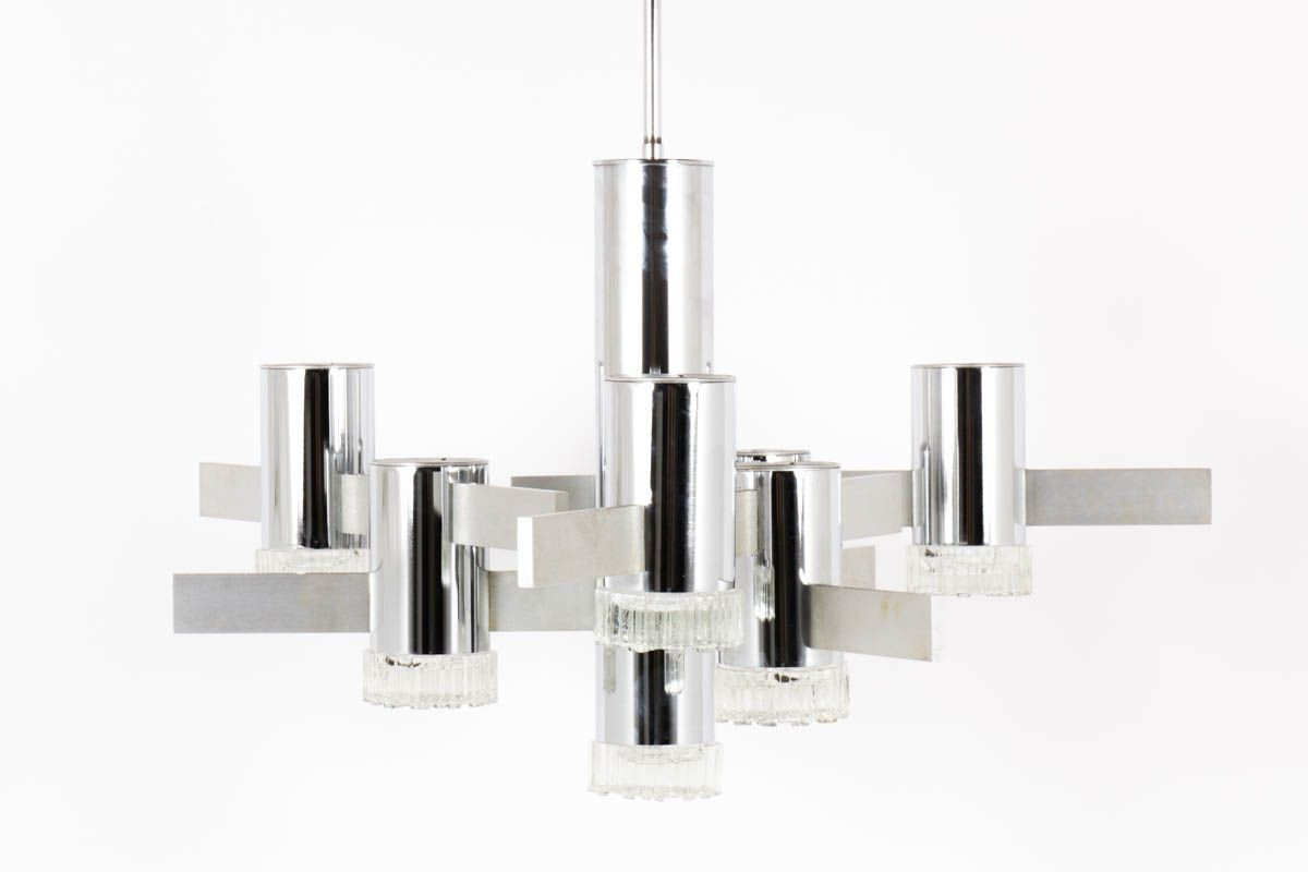 Suspension Gaetano Sciolari en metal chrome et globe en verre design italien 1970