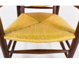 Fauteuil Charlotte Perriand modele 21 tissage de paille 1930