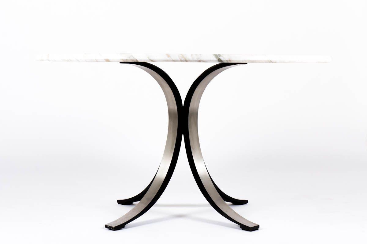 Table ronde Osvaldo Borsani modele T69 plateau marbre edition Tecno 1960