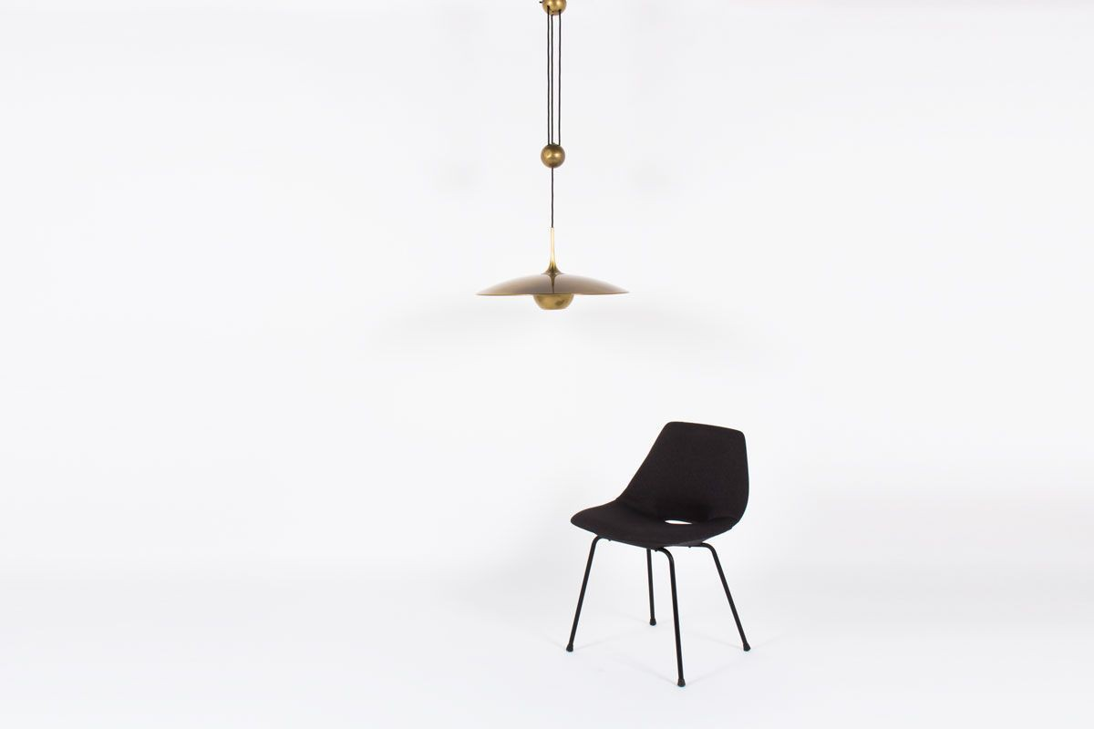 Suspension Florian Schulz modele Onos 55 metal dore design allemand 1960