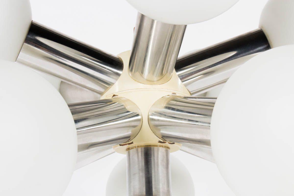 Suspension modele Sputnik opaline et inox brosse 1970