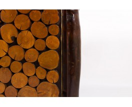 Meuble brutaliste en rondin de bois design bresilien 1950