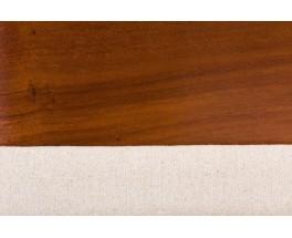 Chaises Alain Richard palissandre et tissu beige 1960 set de 4
