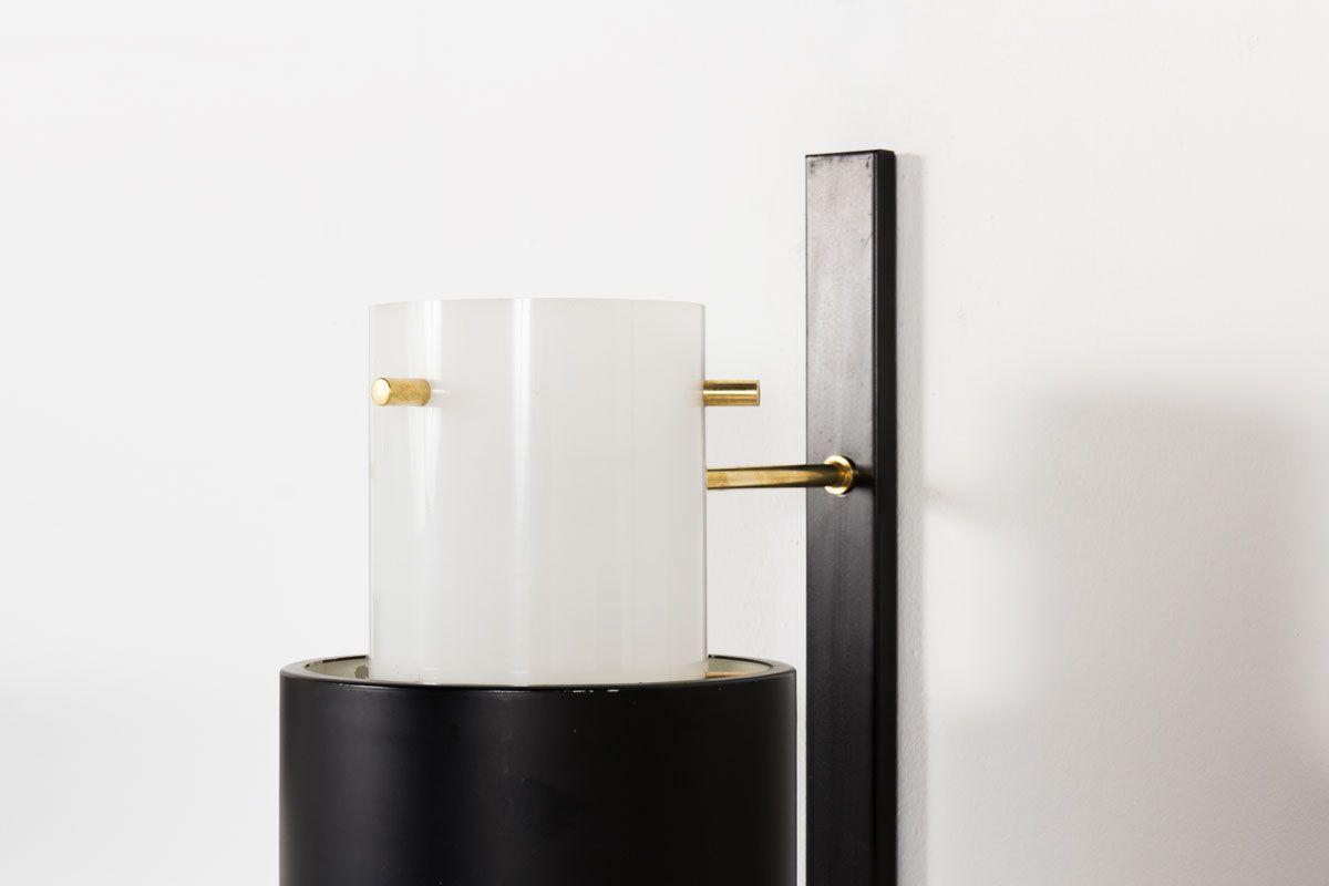 Appliques metal noir laiton et perspex edition Arlus 1950 set de 3