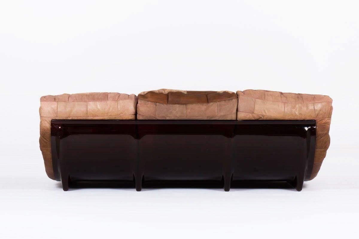 Canape Michel Ducaroy modele Marsala en cuir marron edition Ligne Roset 1970