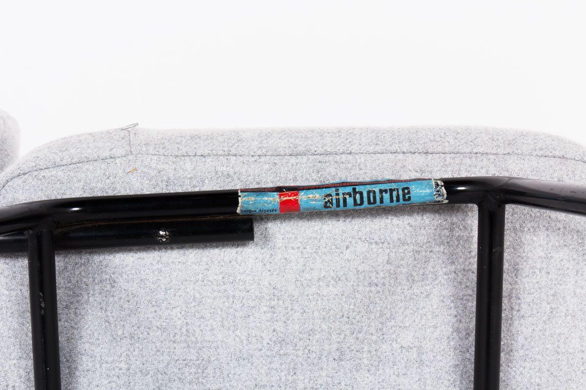 Chaises Andre Simard drap de laine gris edition Airborne 1960 set de 4