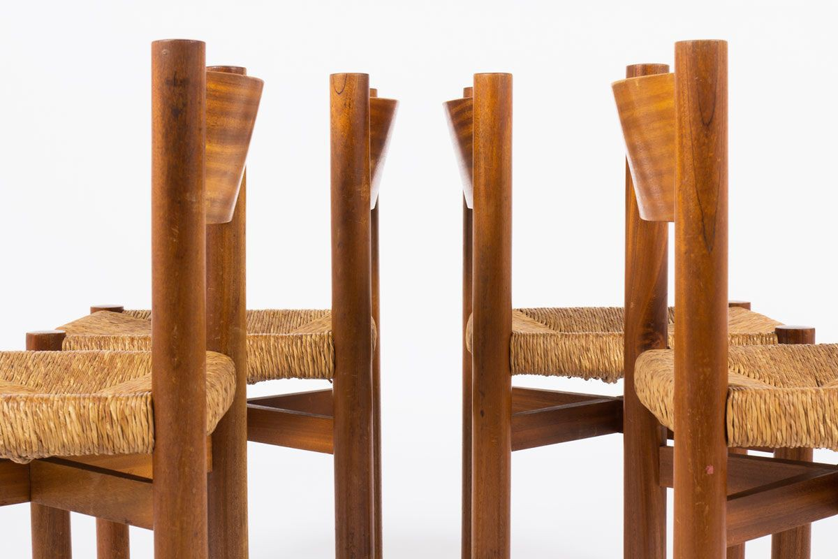 Chaises Charlotte Perriand modele Meribel en acajou edition Steph Simon 1950 set de 4