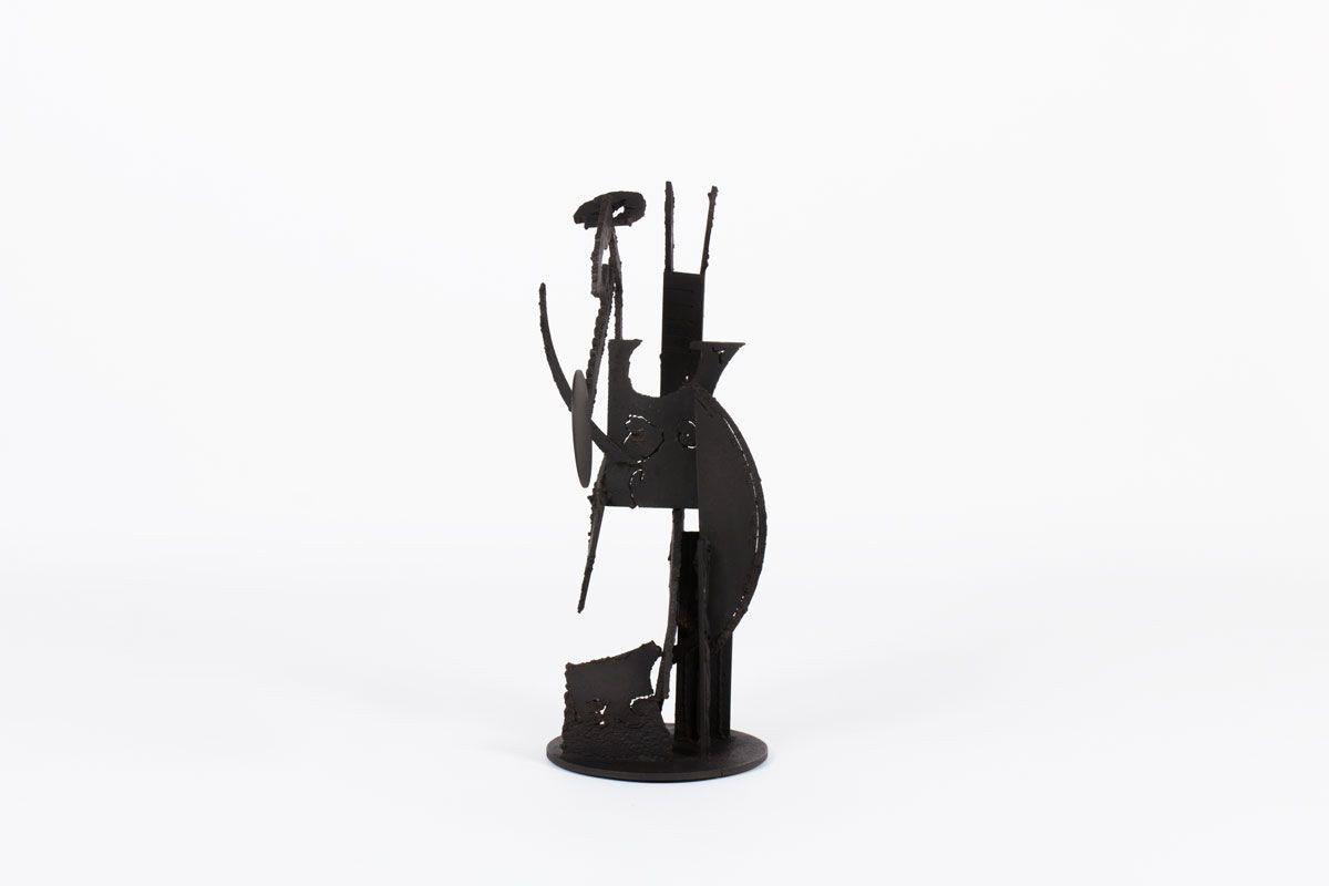 Sculpture Kely brutaliste metal patine noir design contemporain