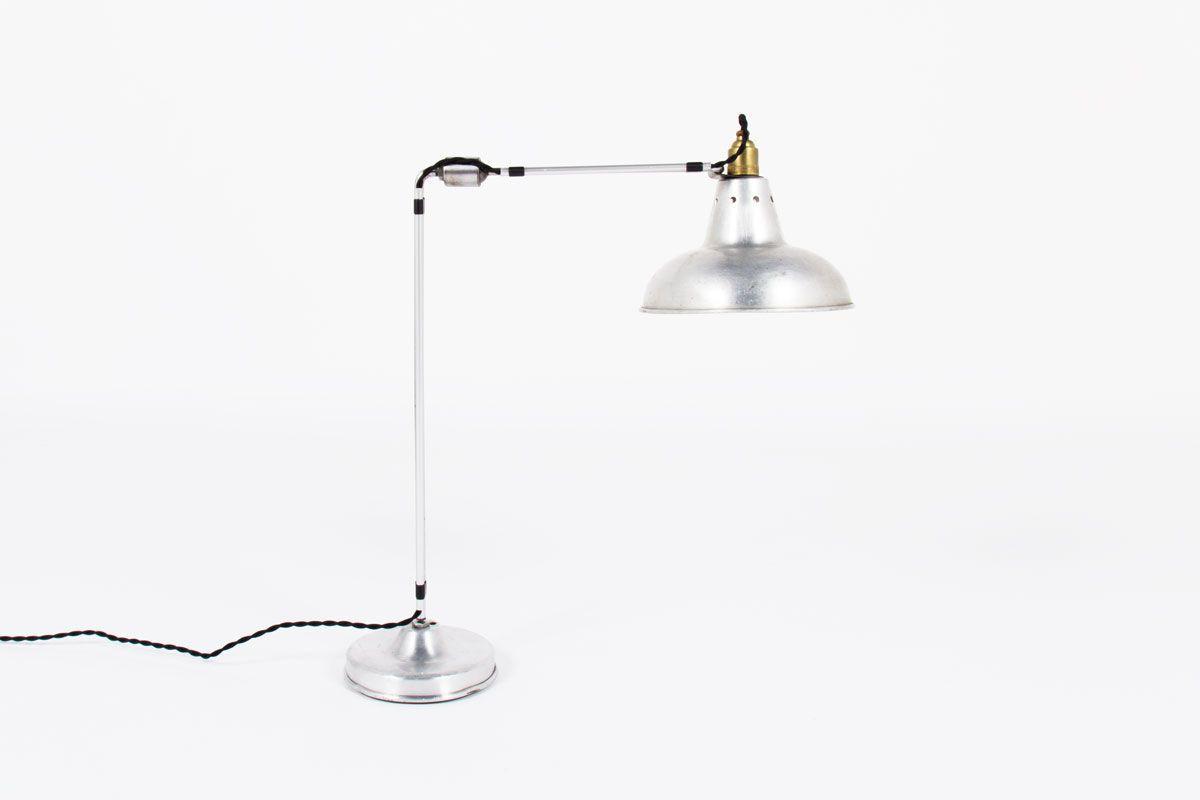 Lampe de bureau Georges Houillon modele 2 bras nickele 1930
