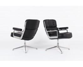 Fauteuils de bureau Eames modele Lobby ES 108 en cuir noir edition Herman Miller 1960 set de 2