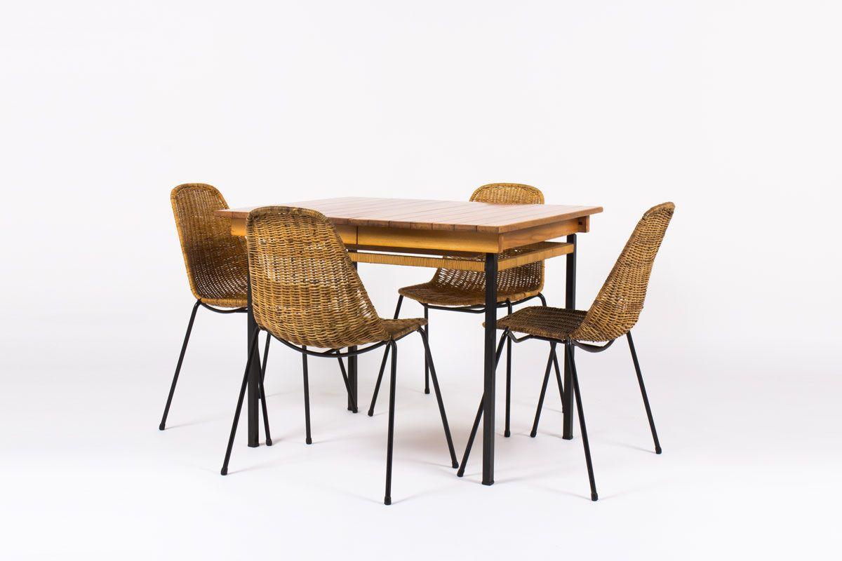 Table de repas avec rallonges a lattes de frene et rotin design espagnol 1950