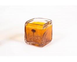 Vases en verre bulle marron 1970 set de 3