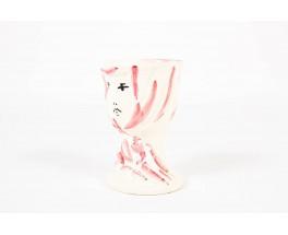 Vase Marcel Vertes ceramique blanche et rose edition Tapis Vert Vallauris 1950