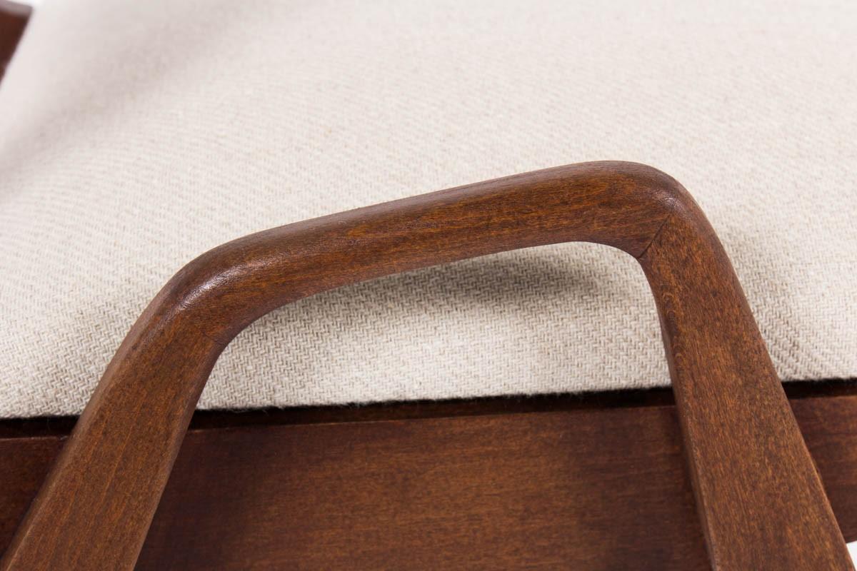 Fauteuils Maurice Pre acajou et tissu beige 1950 set de 2