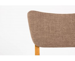 Chaises en chene massif et tissu marron 1950 set de 6