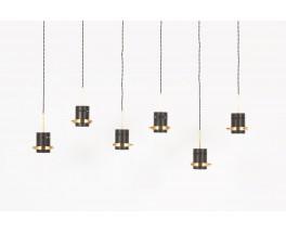 Suspensions en metal laque noir et laiton 1950 set de 6