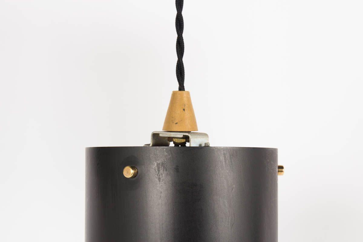 Suspensions cylindriques en metal noir et laiton 1950 set de 5
