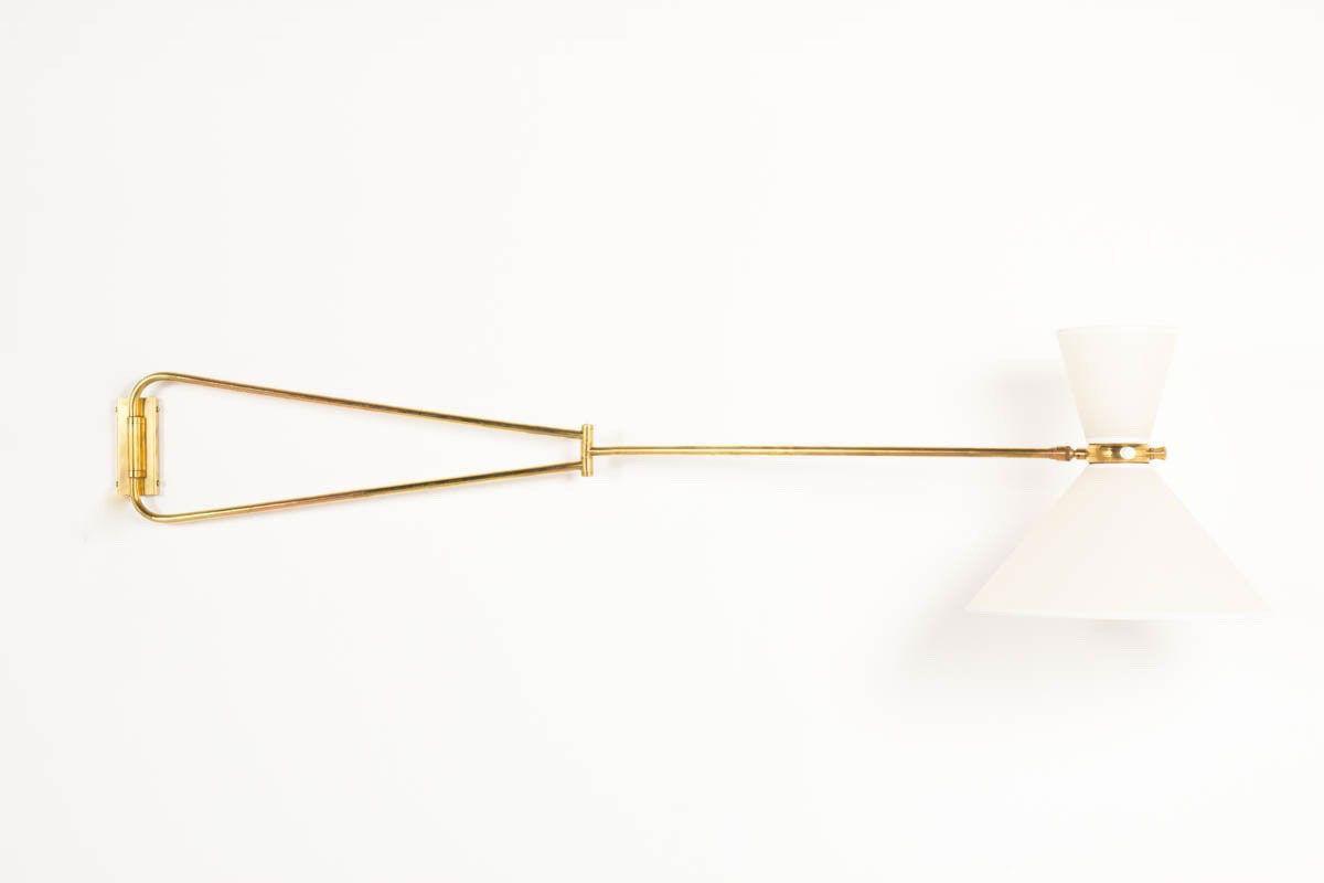 Applique diabolo grand modele en laiton et abat-jour beige 1950