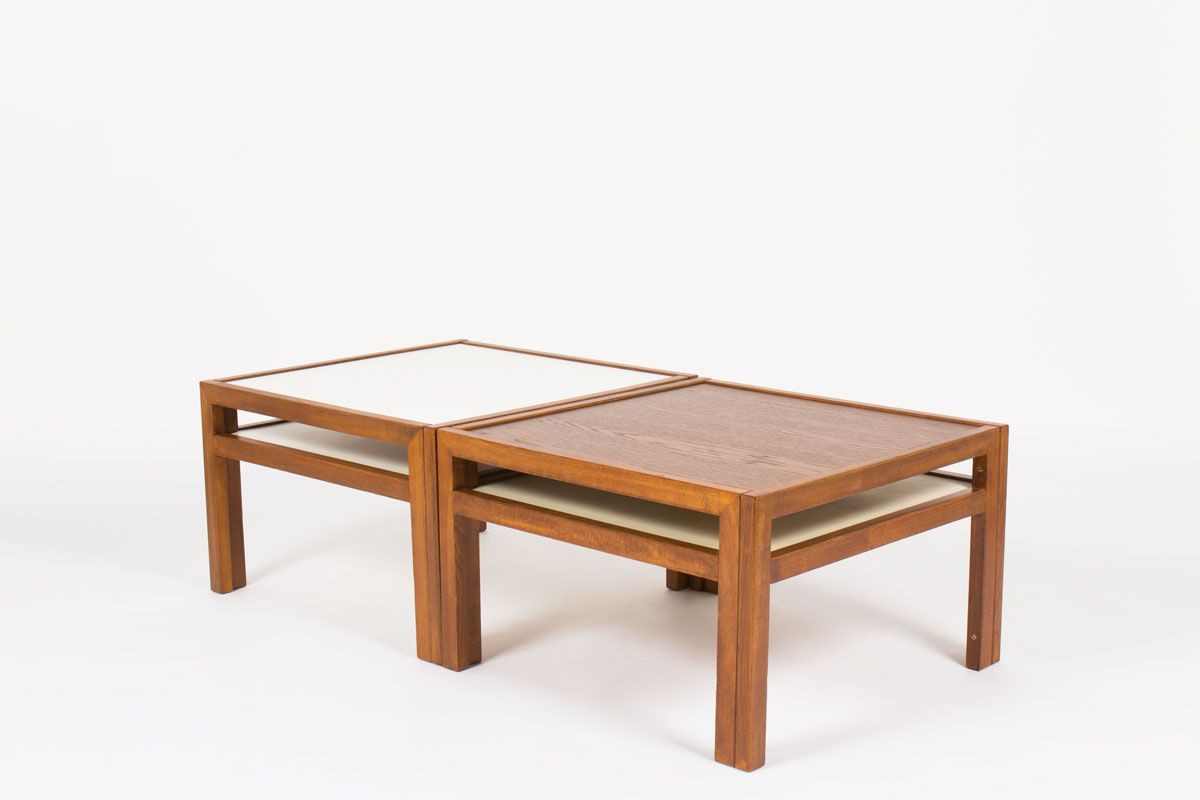 Table basse carree Andre Sornay en hetre teinte et plateau chene 1960