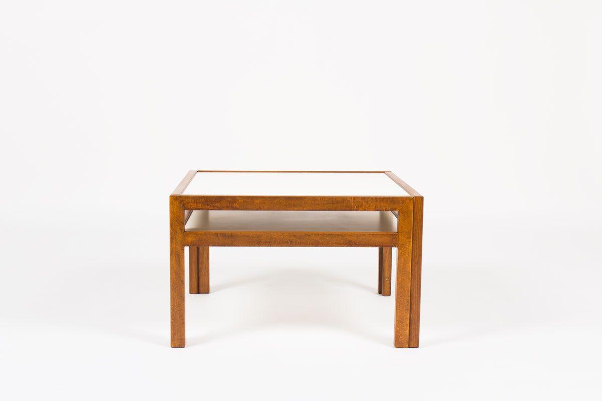 Table basse carree Andre Sornay en hetre teinte et plateau stratifie blanc 1960