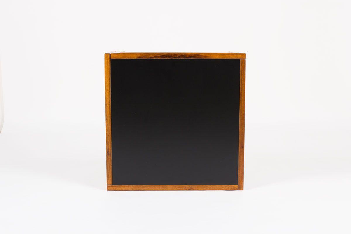 Table basse carree Andre Sornay en hetre teinte et plateau stratifie noir 1960