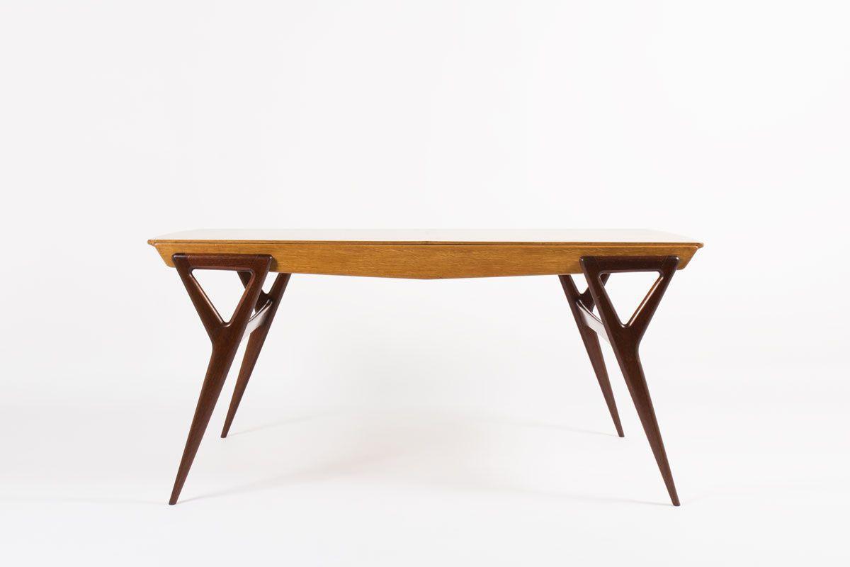 Table de repas Louis Paolozzi chene et acajou edition Rene Godfrid 1955