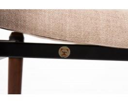 Chaises Eugenio Gerli modele S82 palissandre et velours beige edition Tecno 1960 set de 6