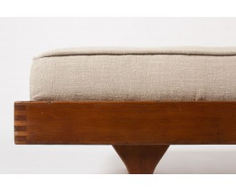 Lit de repos Roger Fatus modele Tatami tissu lin beige edition Sentou 1950