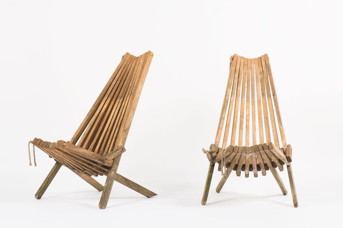 Fauteuils en teck et cordes modele pliable 1960 set de 2
