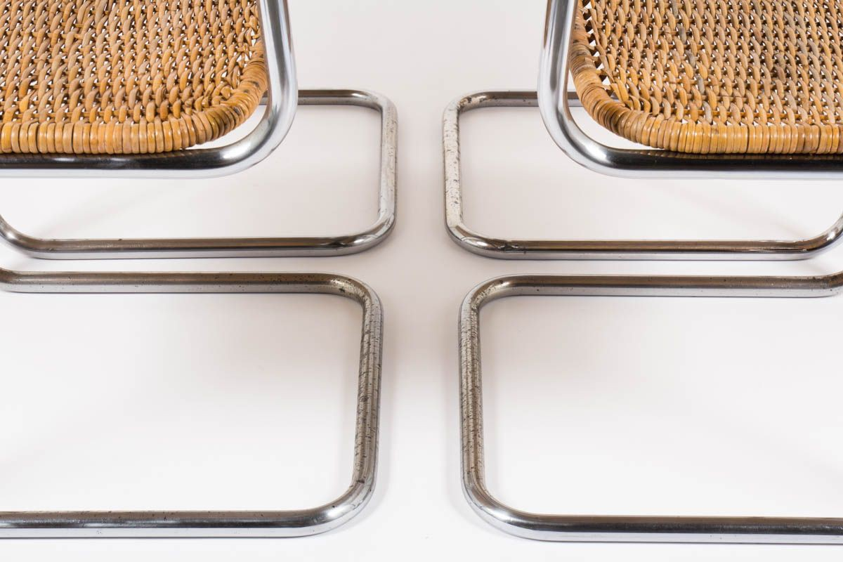Chaises en chrome et rotin design suisse 1970 set de 6