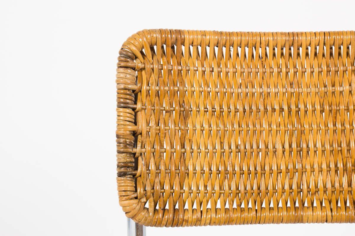 Chaises en chrome et rotin design suisse 1970 set de 6