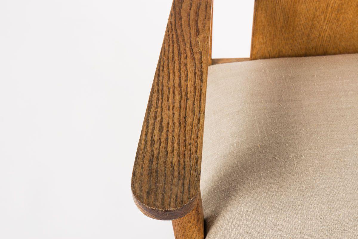 Fauteuil en chene massif tissu lin beige 1950