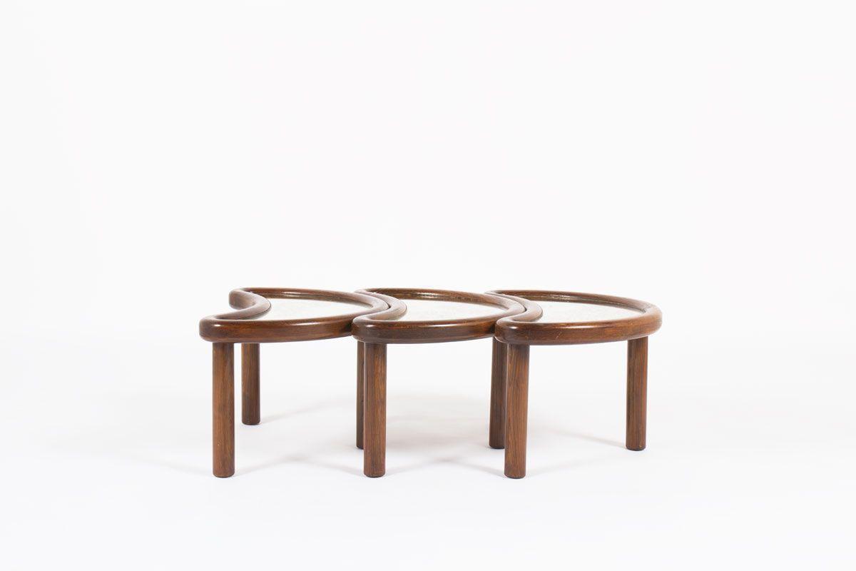 Tables basses modele Haricot chene et plateau en miroir oxyde design Italien 1950 set de 3