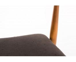 Fauteuils hetre teinte et lin noir design danois 1950 set de 4