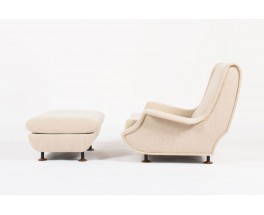 Fauteuil et repose pieds Marco Zanuso modele Regent tissu beige edition Arflex 1960