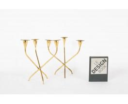 Bougeoirs en laiton design danois 1950 set de 2