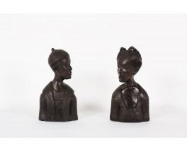 Bustes decoratifs en ebene de Macassar 1950 set de 2
