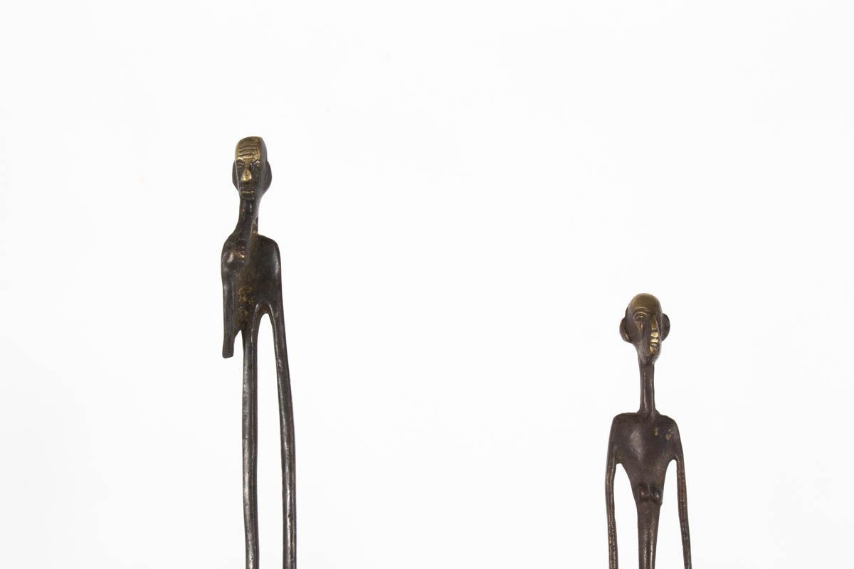 Sculptures personnages en bronze 1950 set de 2
