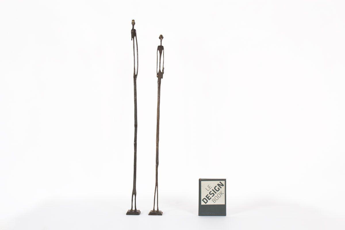 Sculptures personnages en bronze 1950 set de 2