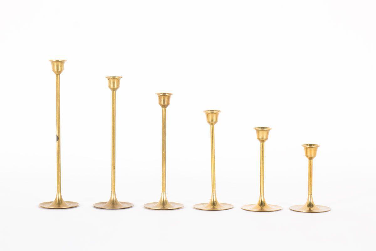 Bougeoirs en laiton design danois 1950 set de 6
