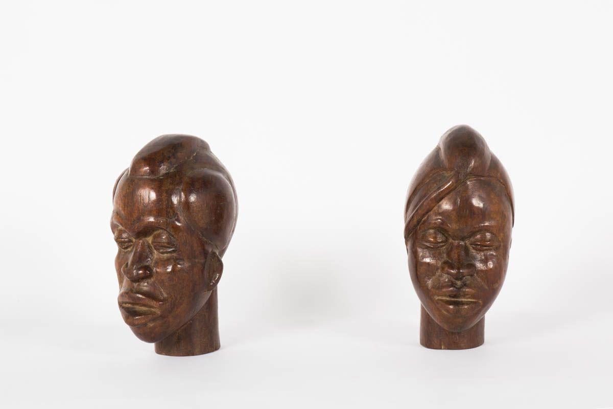 Bustes decoratifs ethniques en palissandre 1950 lot de 2
