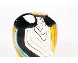 Vase en ceramique multicolore 1960