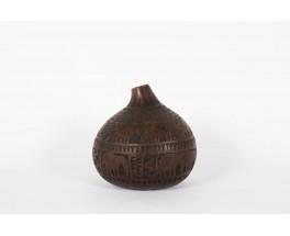 Vase decoratif en bois motifs ethniques 1950