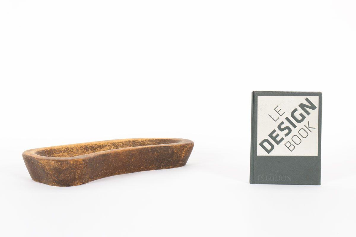 Vide poche en bois brut de forme libre 1950
