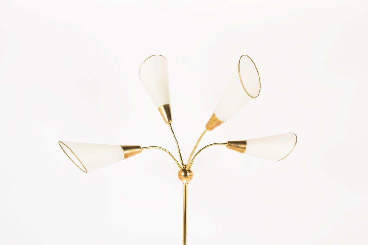 Lampadaire en laiton 4 bras articules abat-jours beige 1950