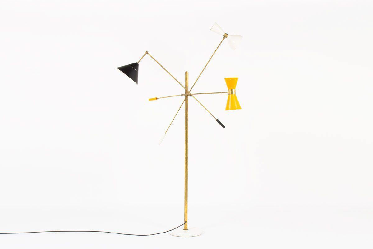 Italian Floor Lamp In Patinated Br