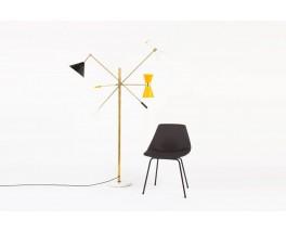 Lampadaire en laiton 3 bras diffuseurs colores design contemporain italien