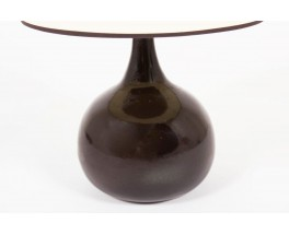 Lampe en ceramique marron abat-jour beige 1950