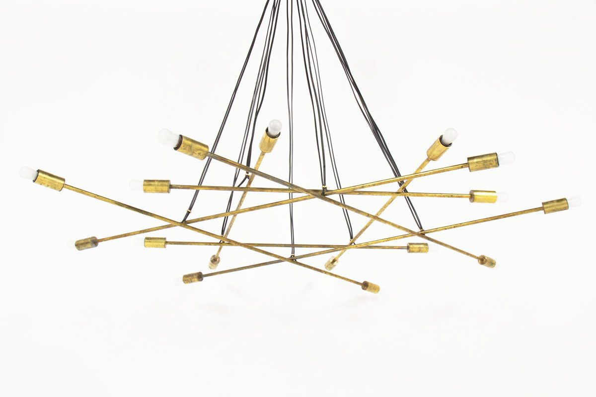 Suspension 16 feux en laiton design contemporain italien