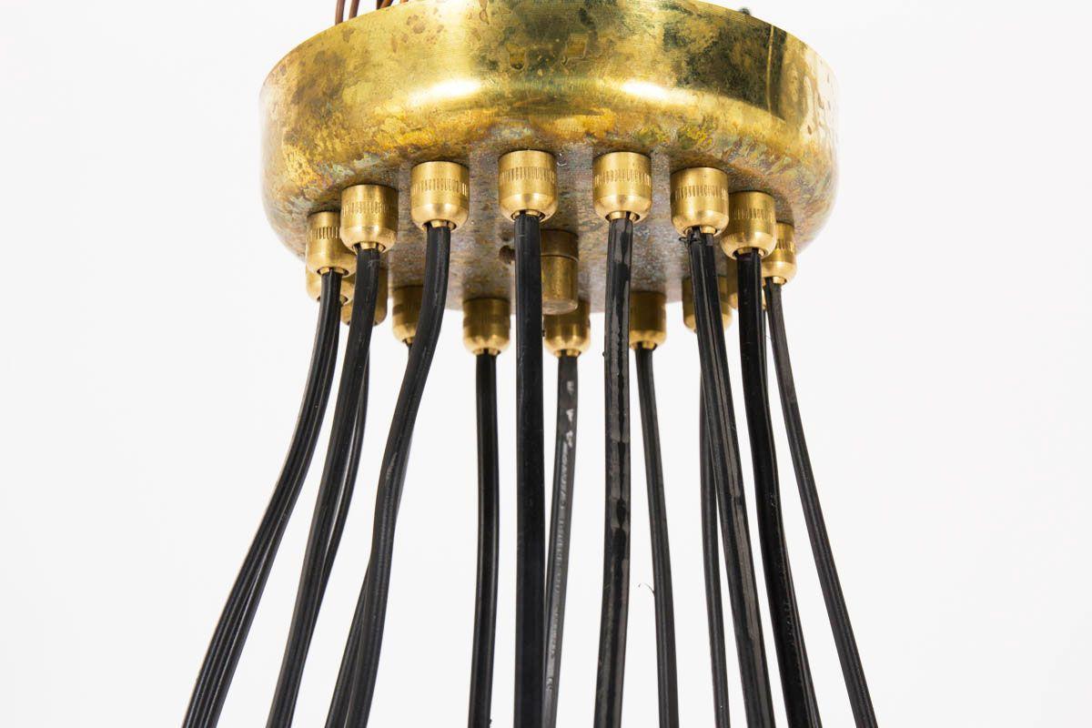 Suspension 16 feux en laiton design contemporain italien